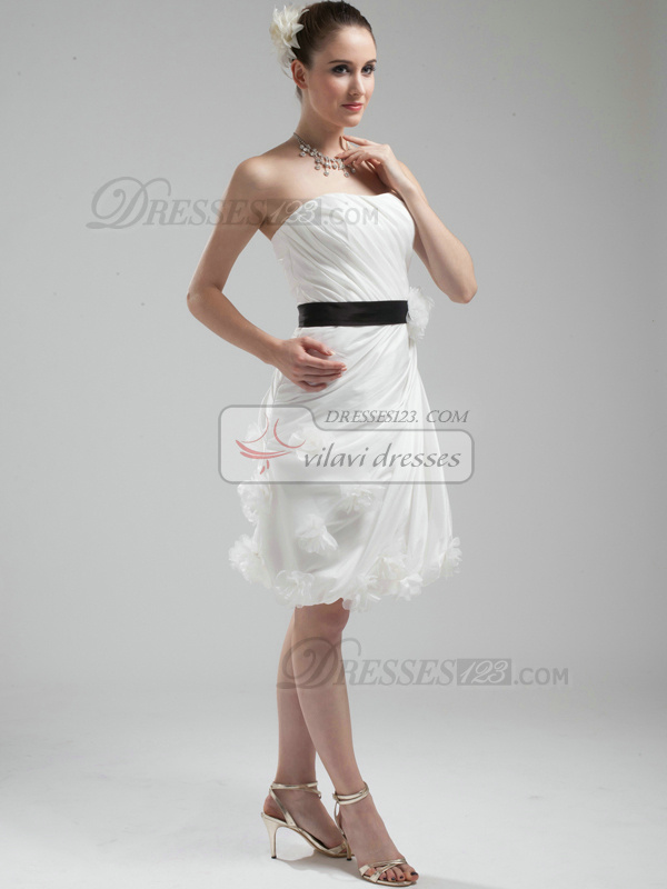 Lovely Sheath Taffeta Tube Top Knee-length Wedding Dresses
