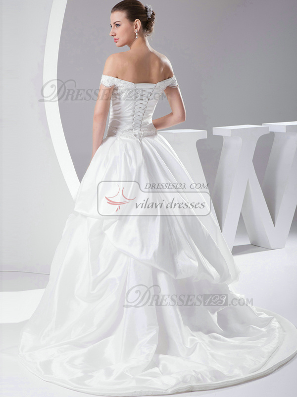 Luxurious Ball Gown Taffeta Off-the-shoulder Sweep Train Wedding Dresses