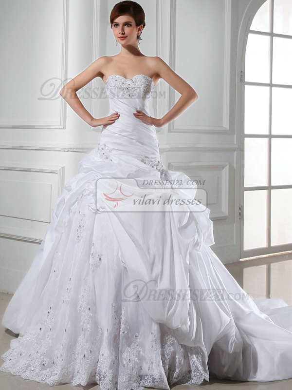 Magnificent Princess Taffeta Sweetheart Flower Wedding Dresses