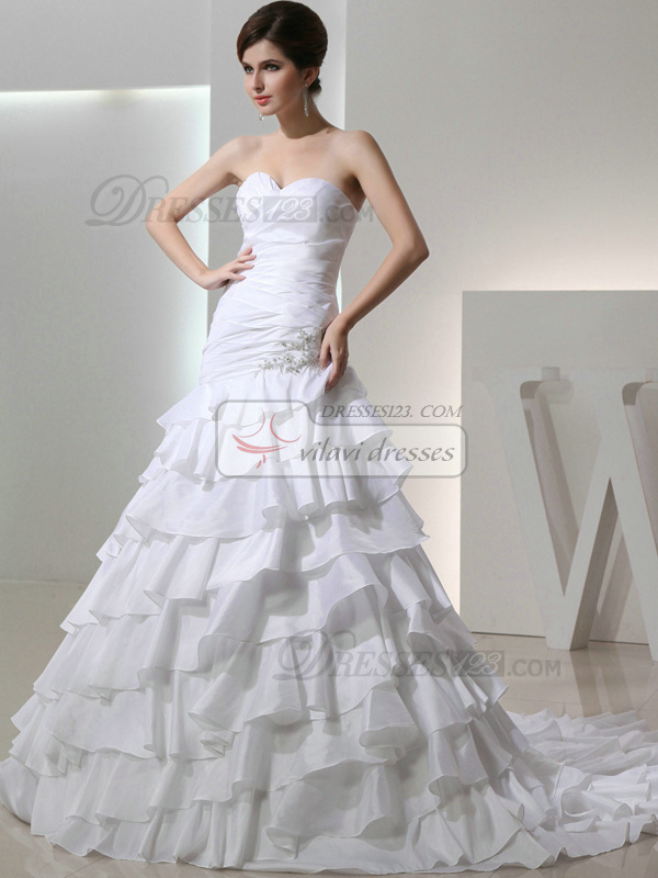 Appealing over hip taffeta sweetheart rhinestone wedding for Sweetheart neckline drop waist wedding dress