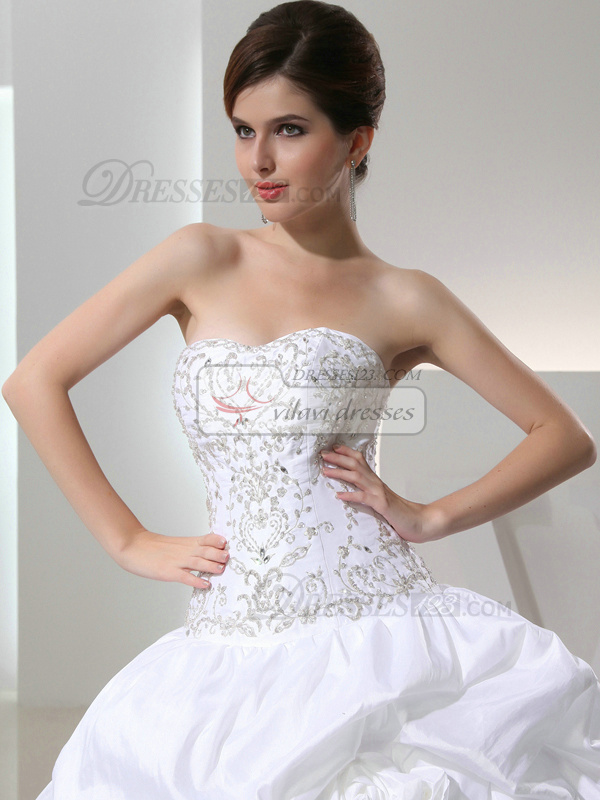 Fantasy Ball Gown Taffeta Strapless Sequin Wedding Dresses