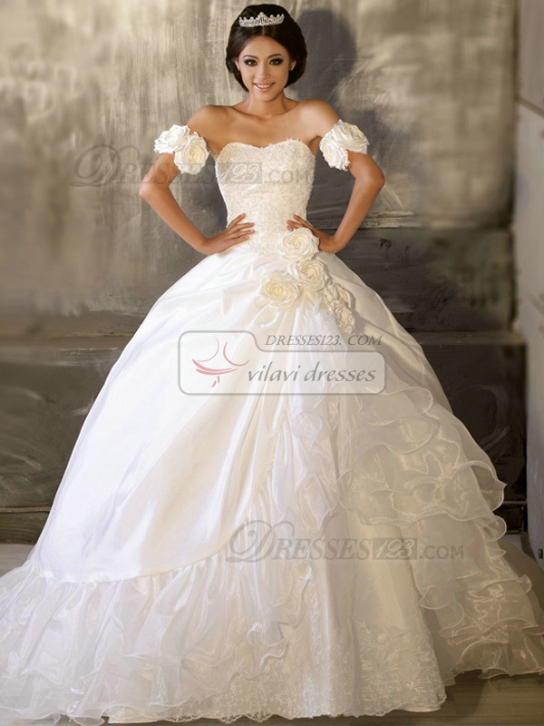 Ball Gown Sweetheart Strapless Court Train Taffeta Draped Wedding Dresses With Flowers