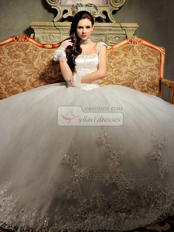 Ball Gown Tulle Straps Lace-up Beading Appliques Wedding Dresses