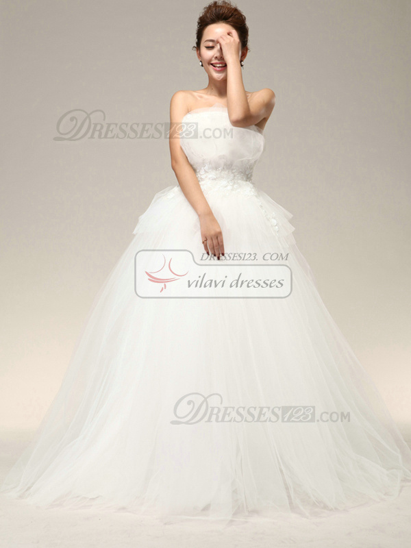 Beautiful Ball Gown Tulle Tube Top Cascading Ruffle Wedding Dresses
