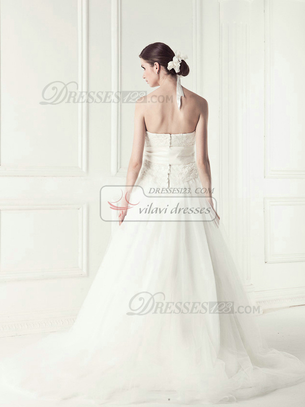 Appealing A-line Tulle Chapel Train Sashes Wedding Dresses