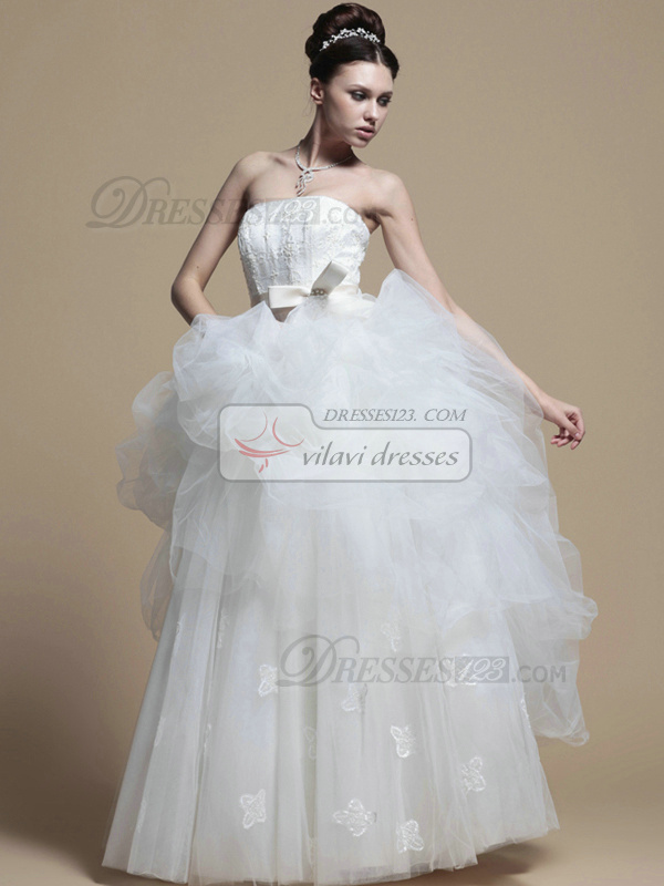 Great Princess Strapless Floor-length Pick-Ups Wedding Dresses