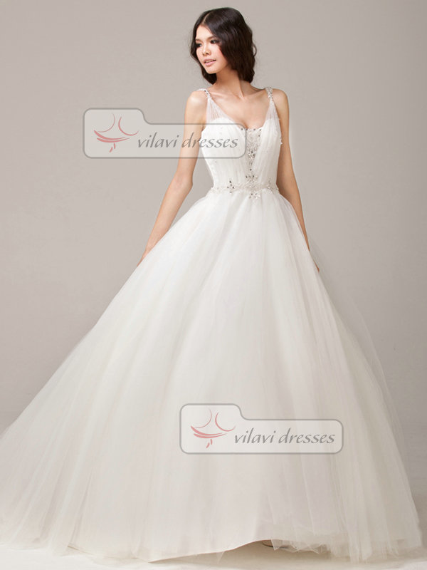 Glamorous Ball Gown Straps Scoop Court Train Tulle Wedding Dress ...