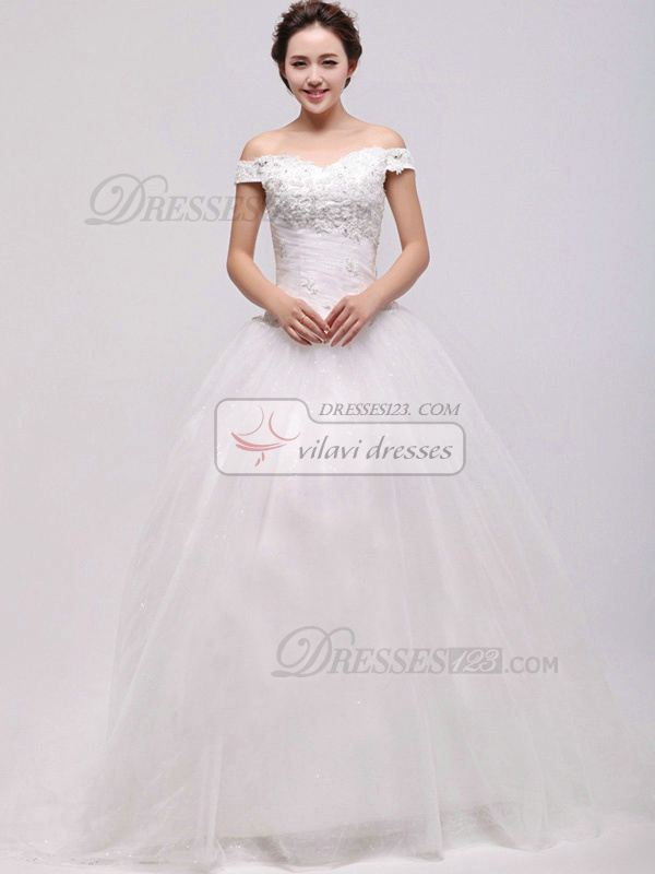Elegant Ball Gown Off-the-shoulder Cathedral Train Appliques Wedding Dresses