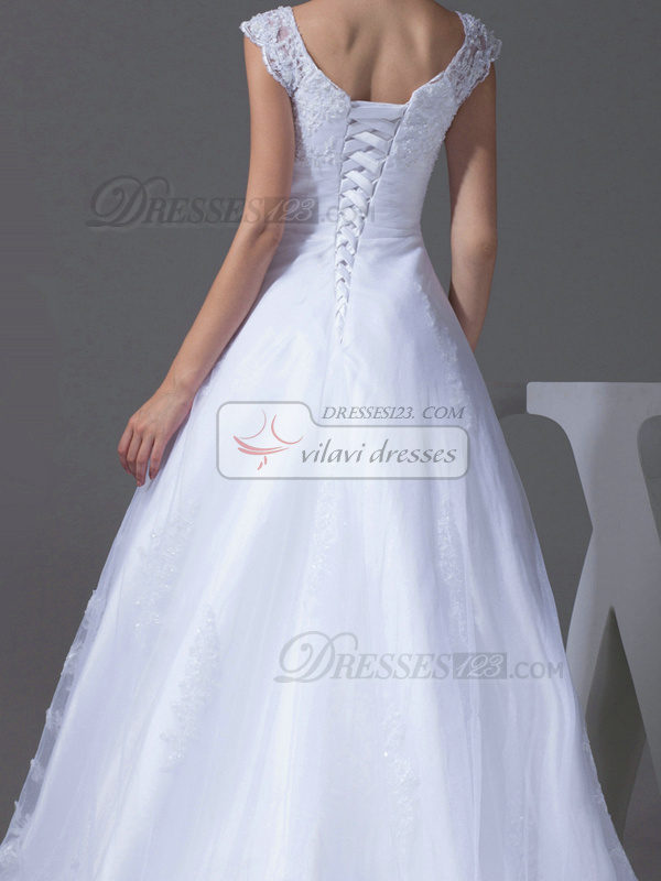 Happiness A-Line Tulle V-neck Court Train Wedding Dresses