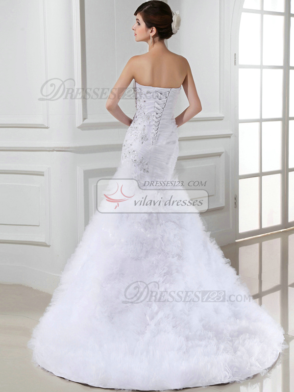 Brilliant Mermaid Tulle Sweetheart Beading Wedding Dresses