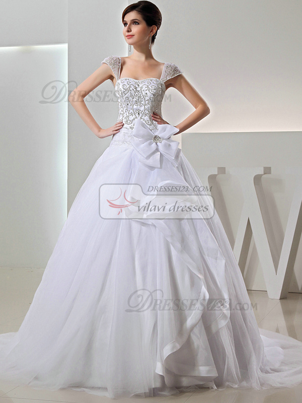 Outstanding Princess Tulle Bateau Bowknot Wedding Dresses
