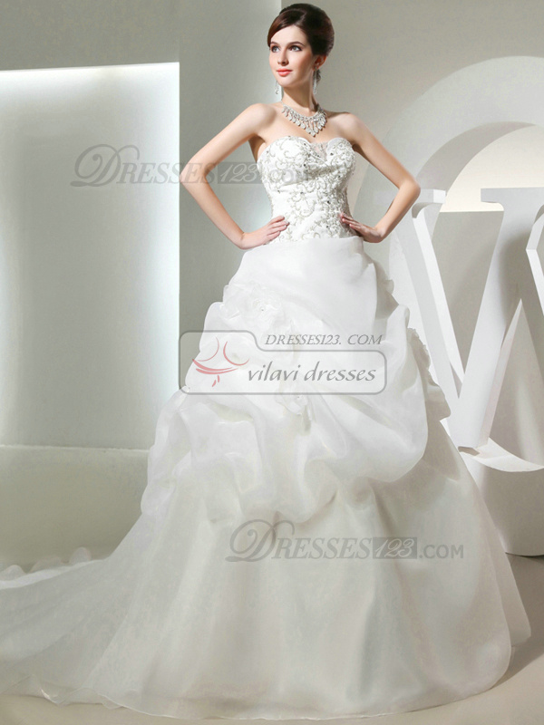 Pure Color Classic Princess Tulle Sweetheart Pick-Ups Wedding Dresses