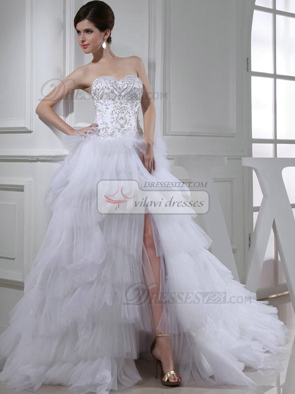 Marvelous Princess Tulle Sweetheart Beading Wedding Dresses