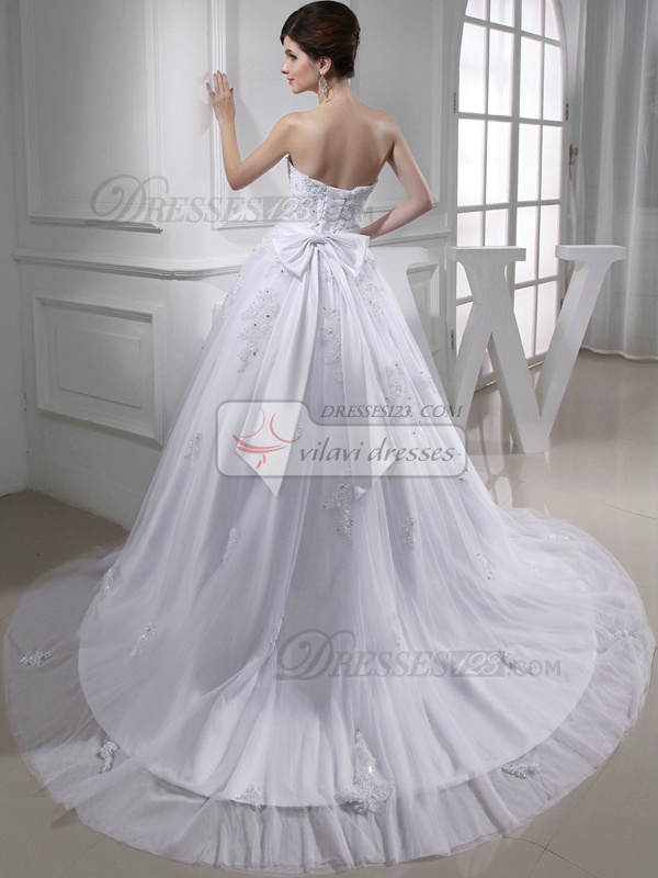 Phenomenal A-line Tulle Tube Top Bowknot Wedding Dresses
