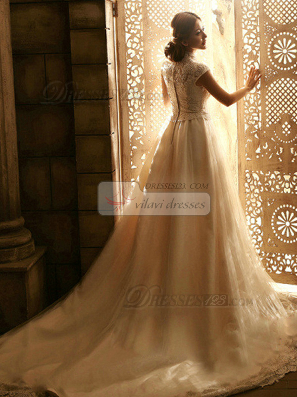 A-line High Neck Court Train Tulle Appliques Wedding Dresses