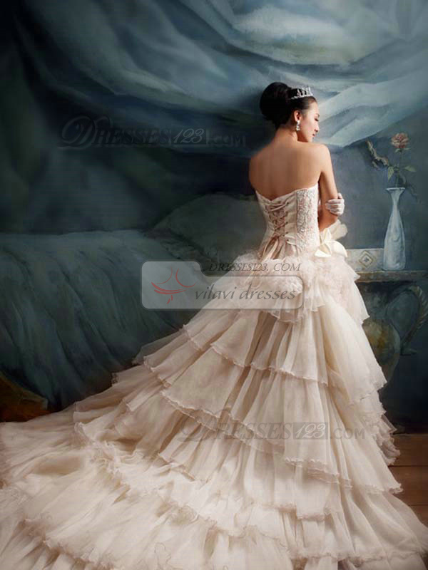 Princess Tube Top Strapless Chapel Train Tulle Ruffle Beading Wedding dress