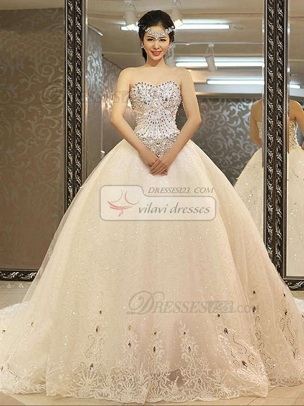 Sequin Tulle Wedding Dress