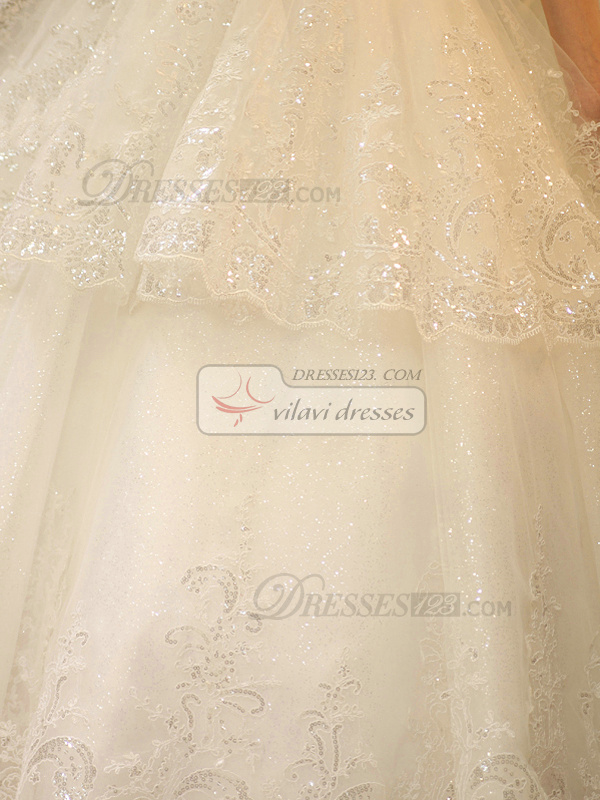 Luxury Ball Gown Sweetheart Strapless Floor-length Tulle Lace Wedding Dresses With Rhinestones