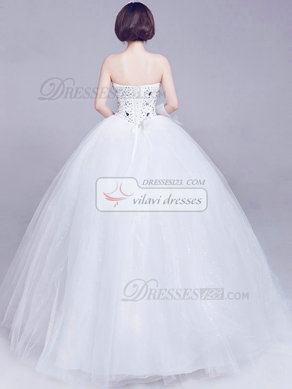 Ball Gown Sweetheart Strapless Floor-length Tulle Lace Wedding Dresses With Big Rhinestones