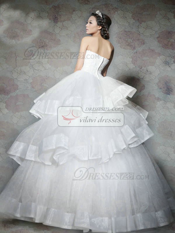 Ball Gown Tube Top Strapless Floor-length Tulle Crystal/Rhinestone Wedding Dresses With Three Layers Ribbon On Skirt