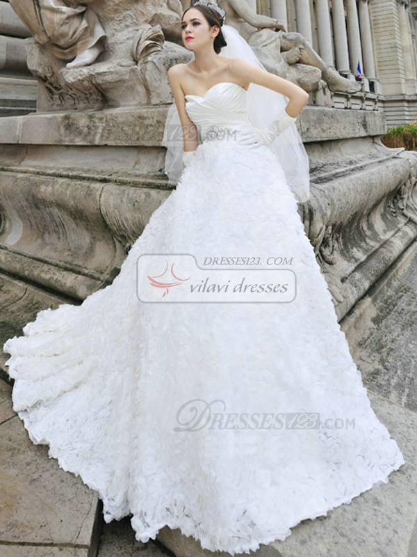 A-line Sweetheart Wrap Pleats Flower Court Train Tulle Rhinestone Wedding Dresses