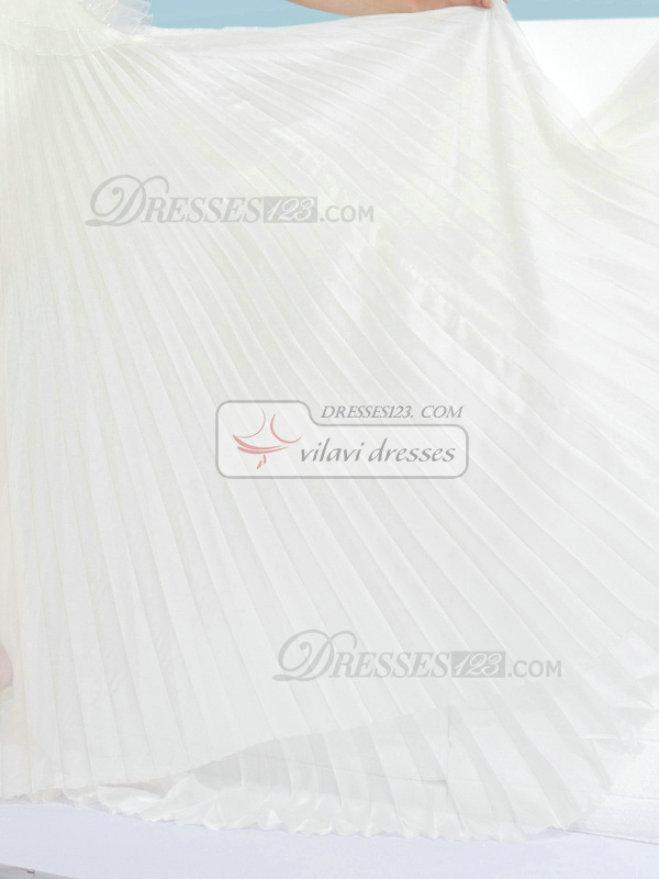 Column Straps Court Train Tulle Rhinestone Sashes Pleated Semi Transparent Wedding Dresses