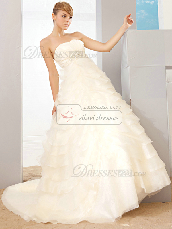 Ball Gown Sweetheart Sweep Train Tulle Beading Tiered Wedding Dresses