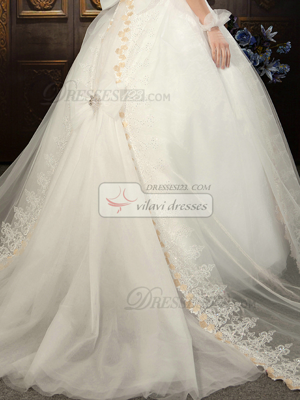 Ball Gown Sweetheart Court Train Tulle Bowknot Wedding Dresses