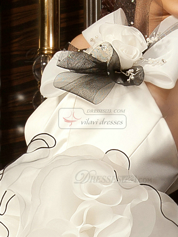 Mermaid One Shoulder Chapel Train Tulle Bowknot White And Black Ruffle Wedding Dresses