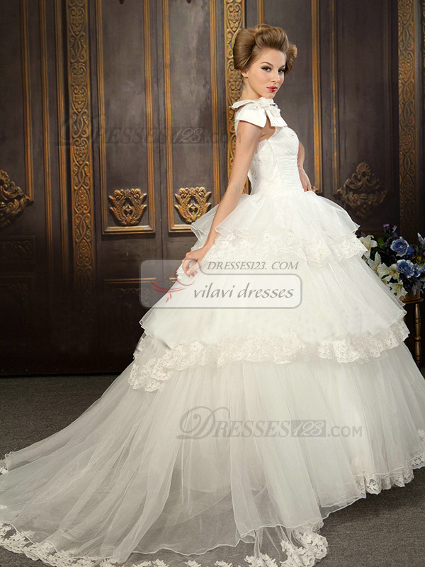 Ball Gown Flower One Shoulder Ruched Chapel Train Tulle Rhinestone Tiered Wedding Dresses