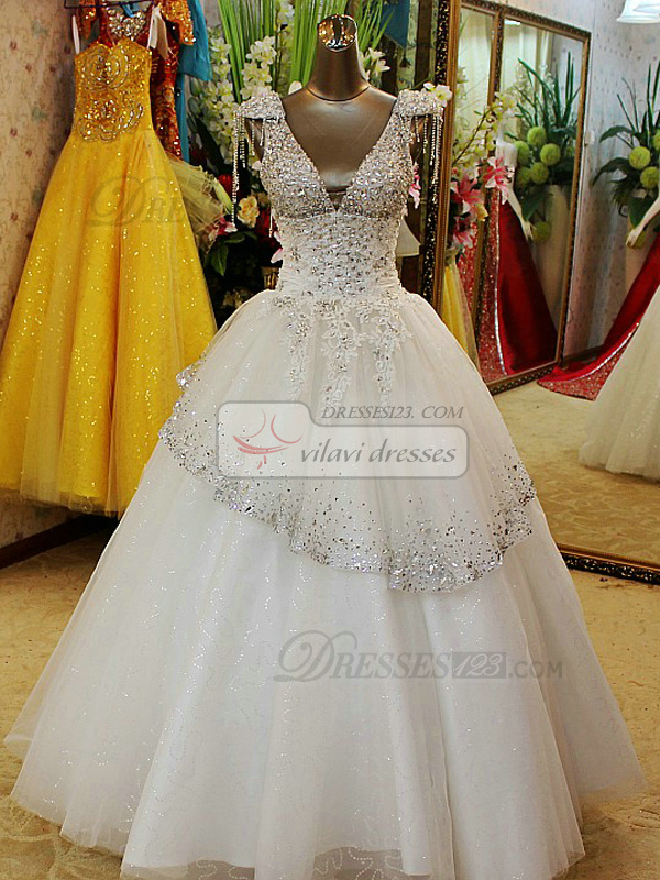 A-line V-neck Floor-length Tulle Lace Crystals And Rhinestones Wedding Dresses With Jewelry Shoulder Strap