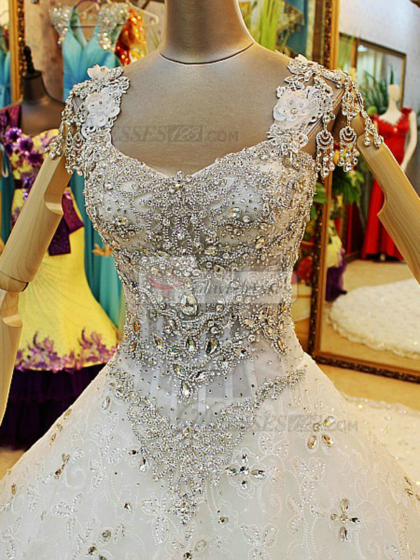 Ball Gown V-neck Semi Transparent Rhinestones Bodice Cathedral Train Tulle Flower Wedding Dresses With Jewelry Jacket