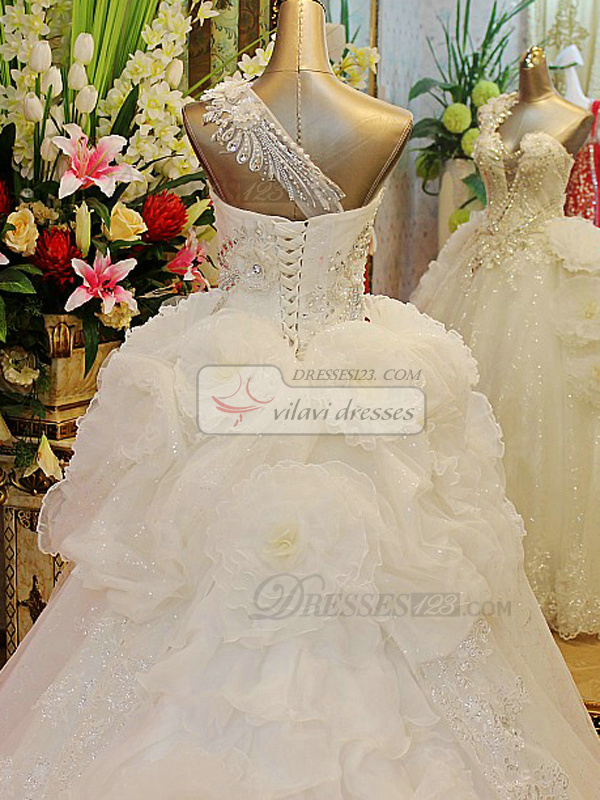 A-line One Shoulder Cascading Ruffle Court Train Tulle Sequin Crystals And Beading Wedding Dresses With Big Flowers