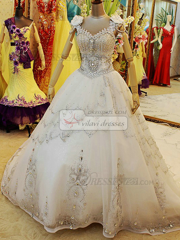 Ball Gown V-neck Waving Decorative Rhinestones Chapel Train Tulle Sequin Wedding Dresses With Flower Straps