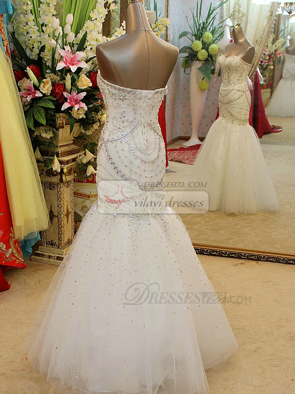Mermaid Strapless Floor-length Tulle Sequin Wedding Dresses With Crystals And Beading