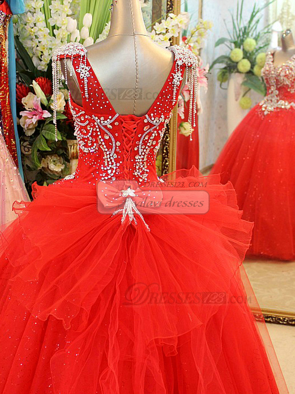 Ball Gown V-neck Floor-length Tulle Crystal Wedding Dresses With Jewelry Shoulder Straps