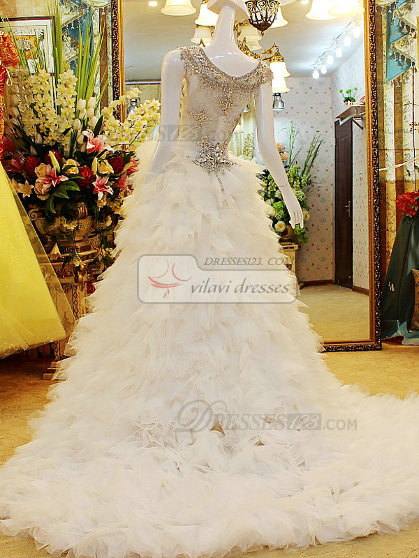 Ball Gown Round Brought Ruffle Court Train Tulle Crystal High Low Wedding Dresses