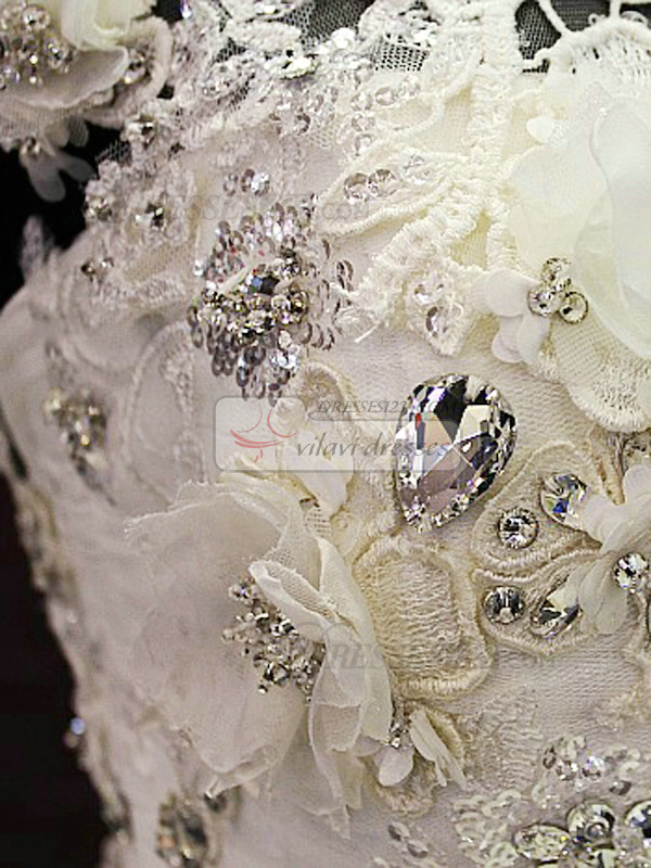 Ball Gown Asymmetrical Collar Chapel Train Tulle Crystal Wedding Dresses With Flowers