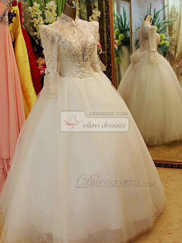 Ball Gown High neck Floor-length Tulle Semi Transparent Top 3/4 Length Sleeves Wedding Dresses
