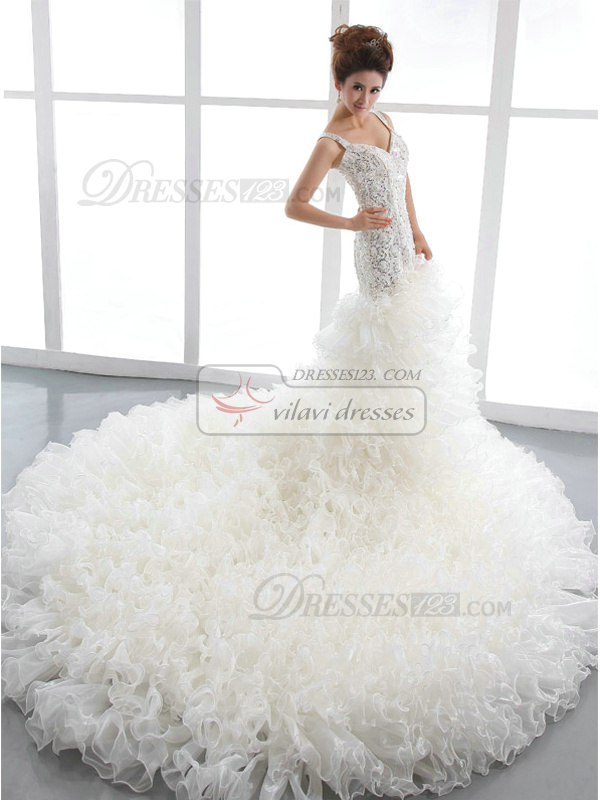 Mermaid Straps Court Train Tulle Ruffle Wedding Dresses With Beading And Sequin