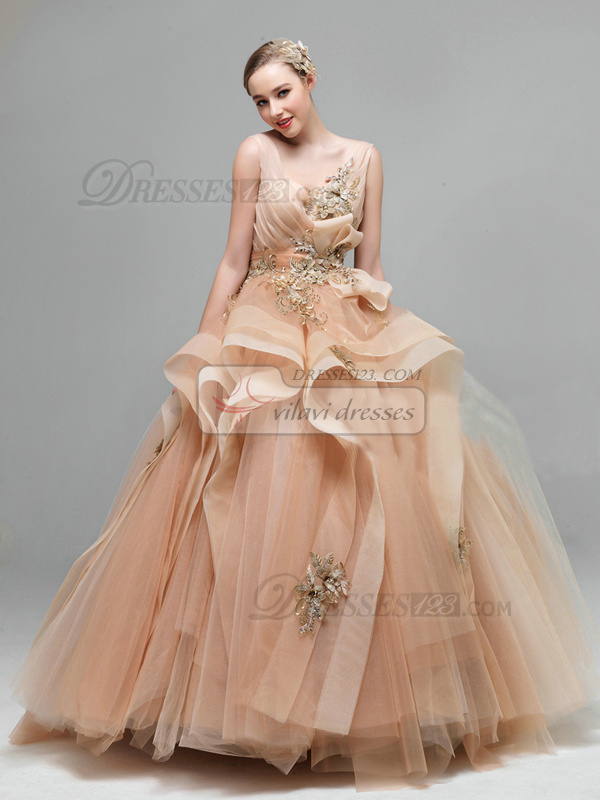 Princess V-neck Floor-length Tulle Beading Backless Champagne Ruffle Wedding Dresses