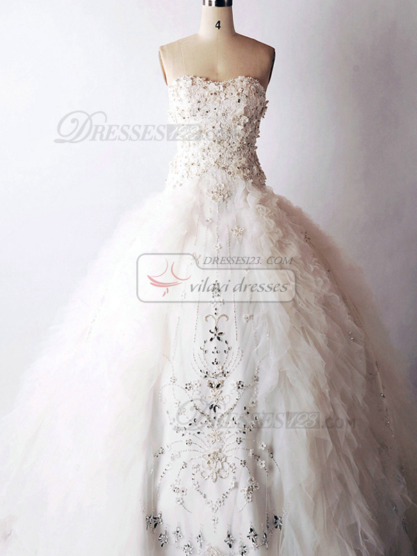 Unique Ball Gown Sweetheart Brush Train Tulle Rhinestone Ruffle Wedding Dresses