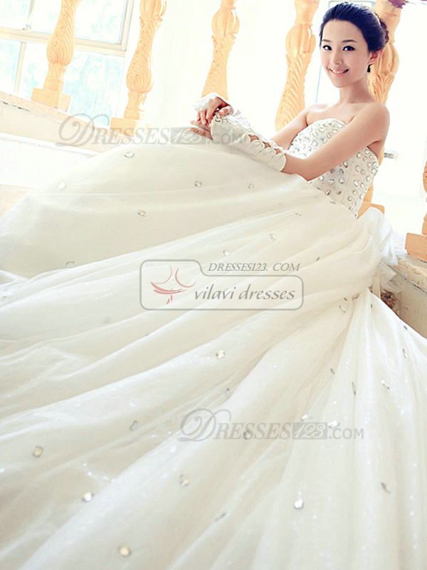 A-line Tube Top Cathedral Train Tulle Flower Wedding Dresses With Crystals And Rhinestones