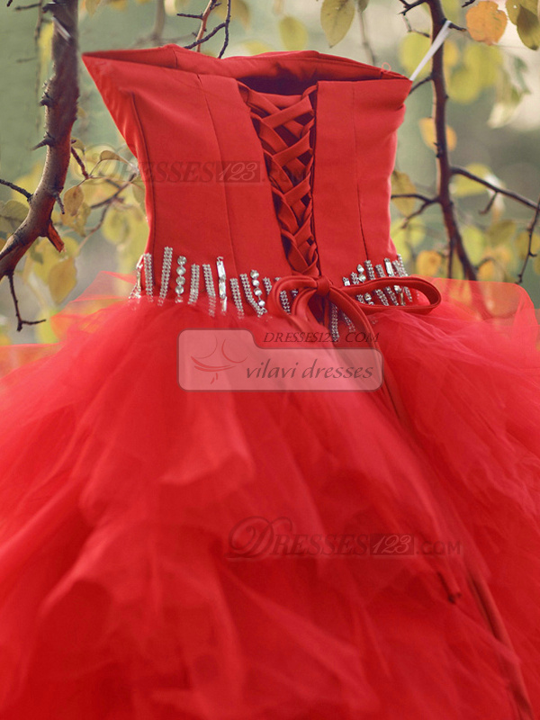 Ball Gown Tube Top Floor-length Tulle Sequin Red Ruffle Wedding Dresses