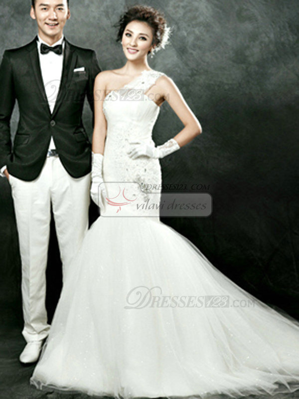 Mermaid One Shoulder Court Train Tulle Crystal Beading Wedding Dresses