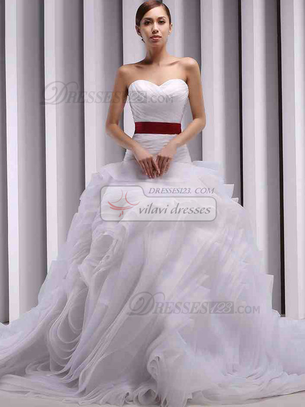 A-line Sweetheart Court Train Tulle Ruffle Sashes Wedding Dresses