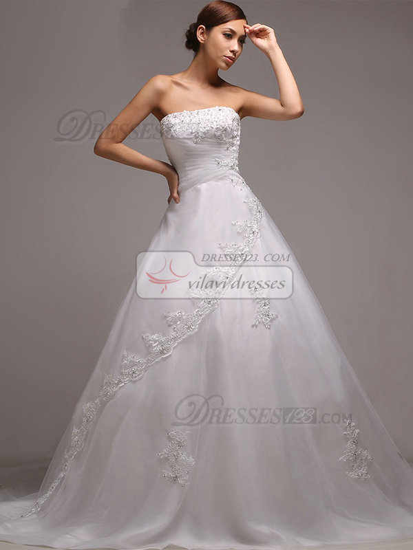 A-line Tube Top Court Train Tulle Beading Wedding Dresses