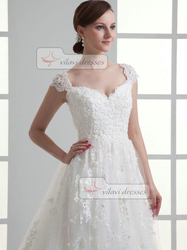 A-line V-neck Brush Train Tulle Cap Sleeves Beading Wedding Dresses