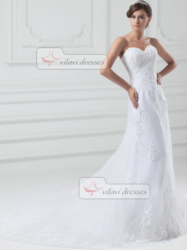 A-line Sweetheart Sweep Tulle Beading Sequin Wedding Dresses