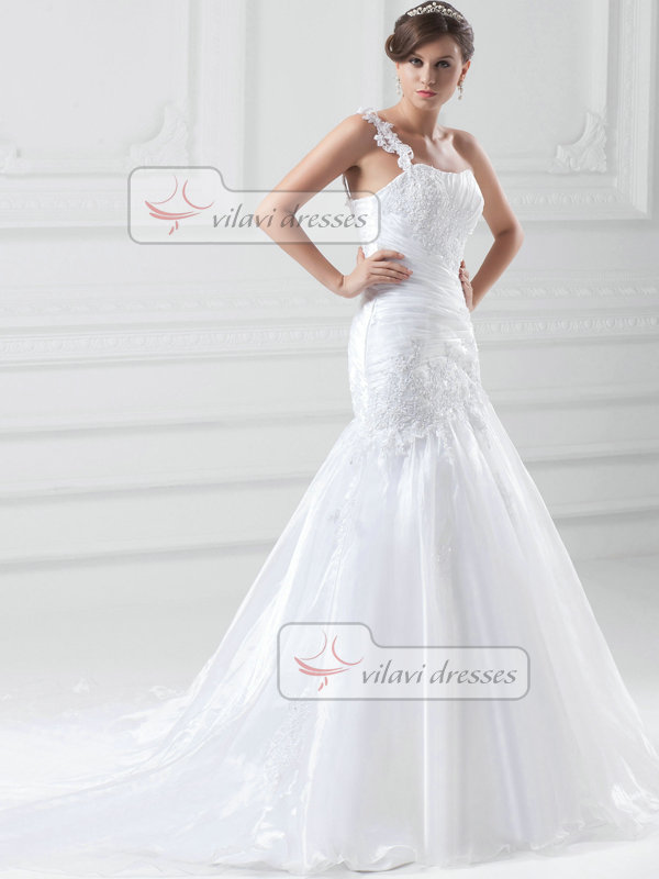 Over Hip One Shoulder Sweep Tulle Crystal Beading Wedding Dresses